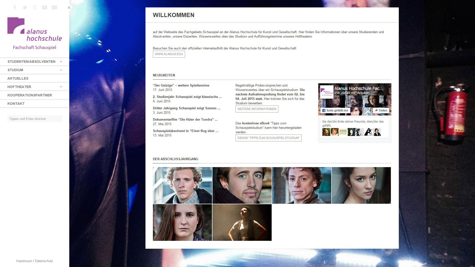 Webseite Alanus Hochschule Fachschaft Schauspiel