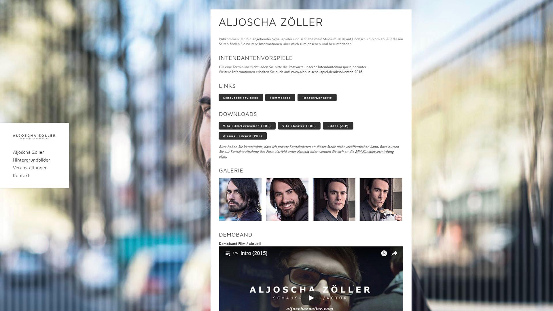 Webseite Aljoscha Zöller