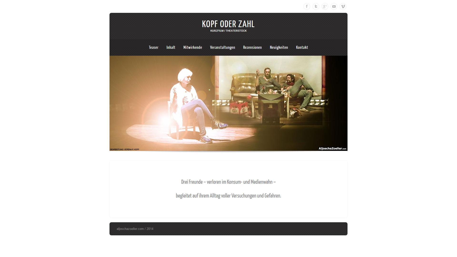Webseite Kopf oder Zahl