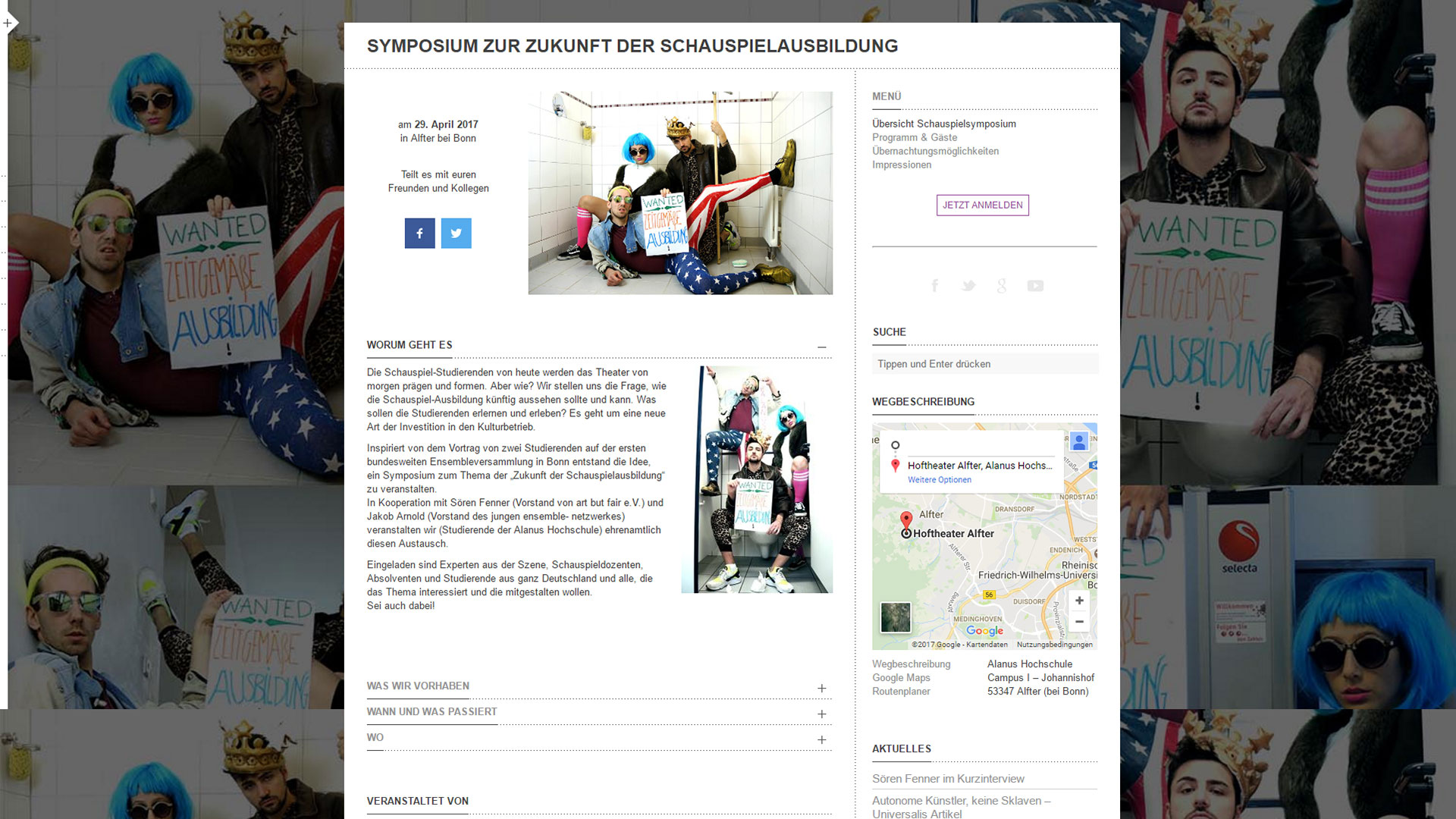 Webseite Symposium zur Zukunft der Schauspielausbildung